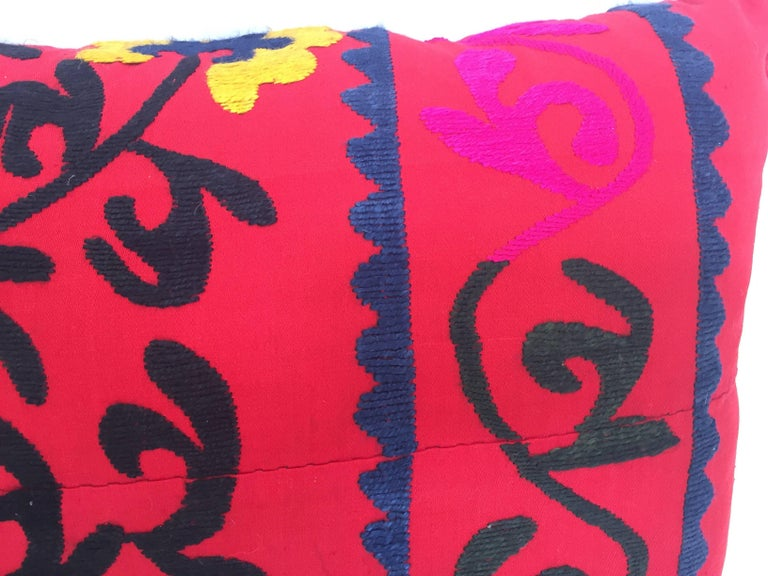 20th Century Large Vintage Colorful Suzani Embroidery Lumbar Pillow from Uzbekistan For Sale