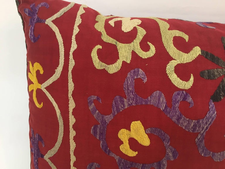 20th Century Large Vintage Colorful Suzani Embroidery Throw Pillow from Uzbekistan For Sale