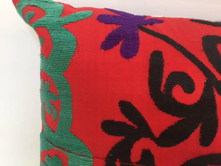 Cotton Large Vintage Colorful Suzani Embroidery Lumbar Pillow from Uzbekistan For Sale