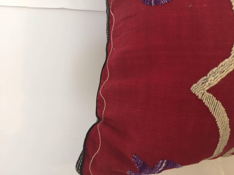 Large Vintage Colorful Suzani Embroidery Throw Pillow from Uzbekistan For Sale 3