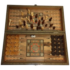 Large Vintage Complete Syrian Inlaid Mosaic Backgammon and Chess Game