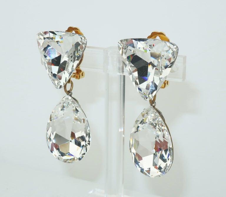 Modern Large Vintage Crystal Drop Clip On Earrings For Sale