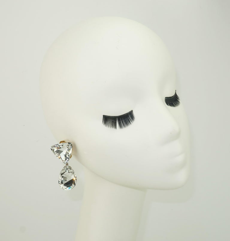 Large Vintage Crystal Drop Clip On Earrings For Sale 3