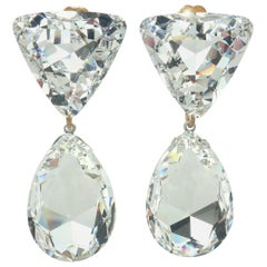 Large Vintage Crystal Drop Clip On Earrings