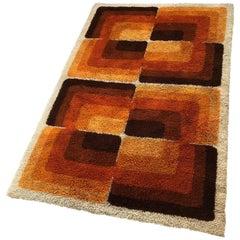 """Großer Vintage Multi-Color Hochflor Teppich """"CUBIC"""" von Desso, Niederlande, 1970er Jahre"""