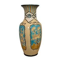 Large Vintage Decorative Vase, Oriental, Ceramic Urn, Hallway, Stick Stand, 1980