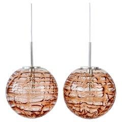 Large Vintage Doria Leuchten 1960s Pink Murano Glass Globe German Pendant Lights