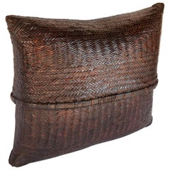 Large Vintage Double Weave Pouch Basket, Nepal, Mid-20th Century