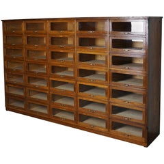 Large Vintage Dutch Oak Haberdashery Shop Cabinet, 1930s