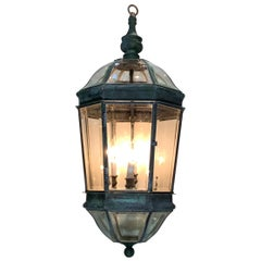 Large Vintage Eight Sides Handcrafted Quality Solid Brass Hanging Lantern