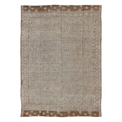 Large Vintage Embroidered Flat-Weave in Ivory and Brown with Geometric Design