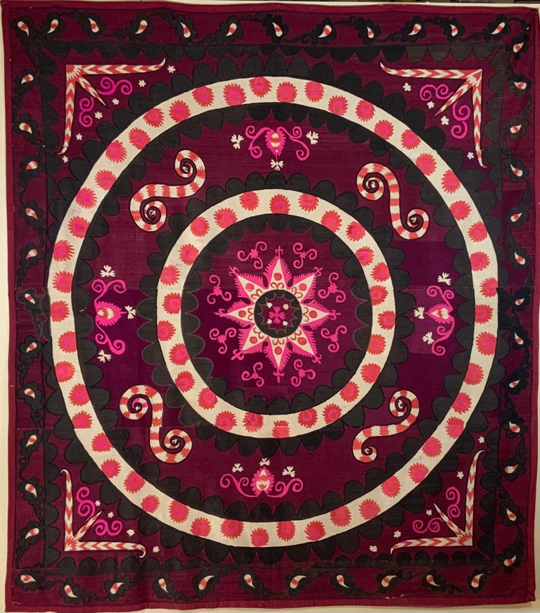 Uzbek Large Vintage Embroidery Suzani Textile For Sale