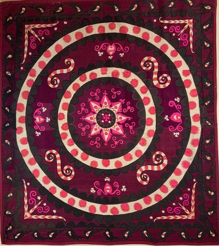 Cotton Large Vintage Embroidery Suzani Textile For Sale