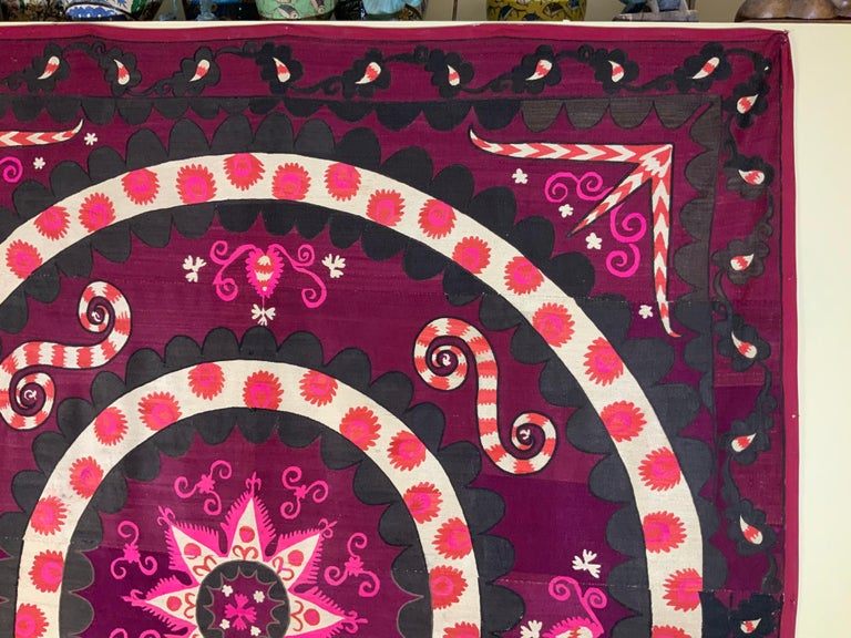 Large Vintage Embroidery Suzani Textile For Sale 2