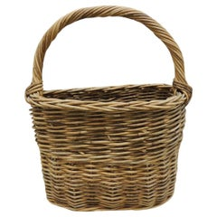 Large Vintage Farmers Willow Basket with Handle