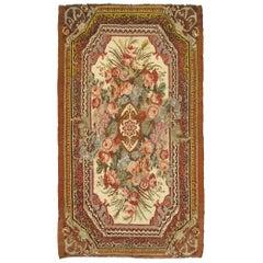 Large Vintage Floral Kilim in Elegant European Design