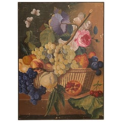 Large Vintage Floral Painting on Panel