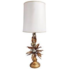 Large Vintage Floral Table Lamp, 1960s