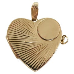Large Vintage Four Photo Heart Shaped Locket, 14 Karat Yellow Gold