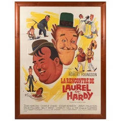 Large Vintage Framed French Laurel and Hardy Movie Poster