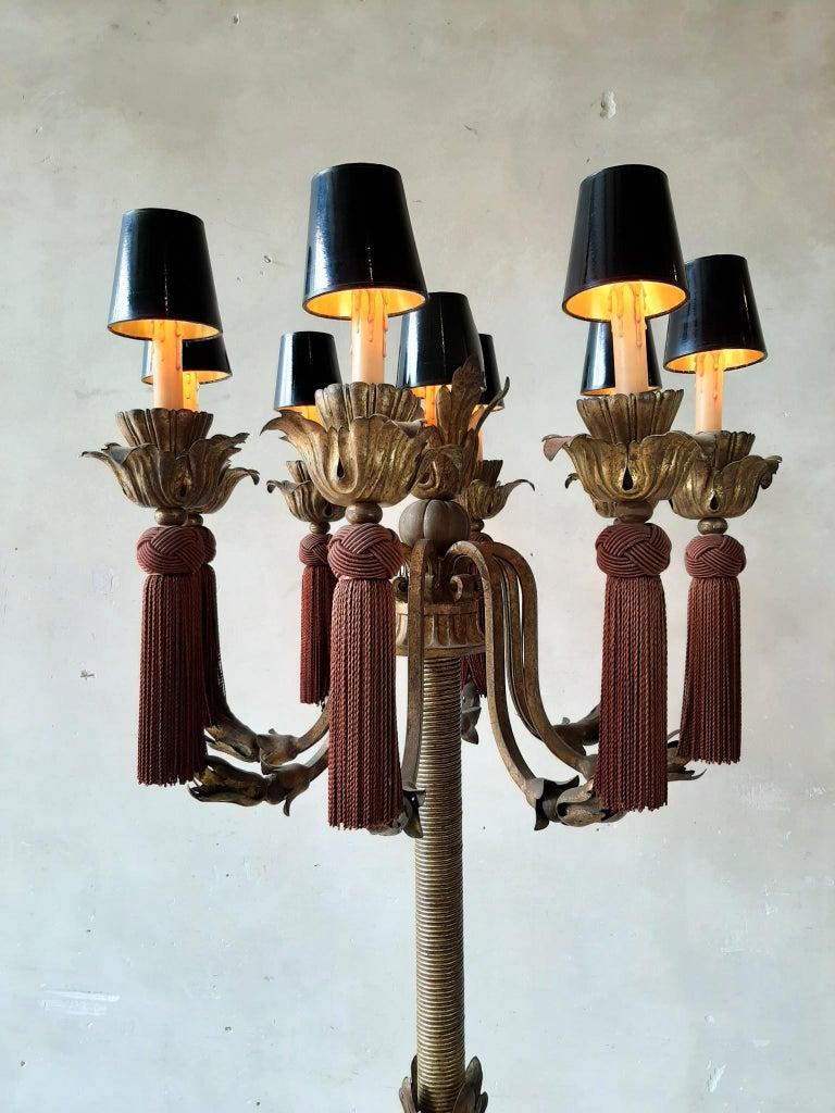 Large Vintage French Antique Design Chandelier Floor Lamp Gold, Red and Black For Sale 5