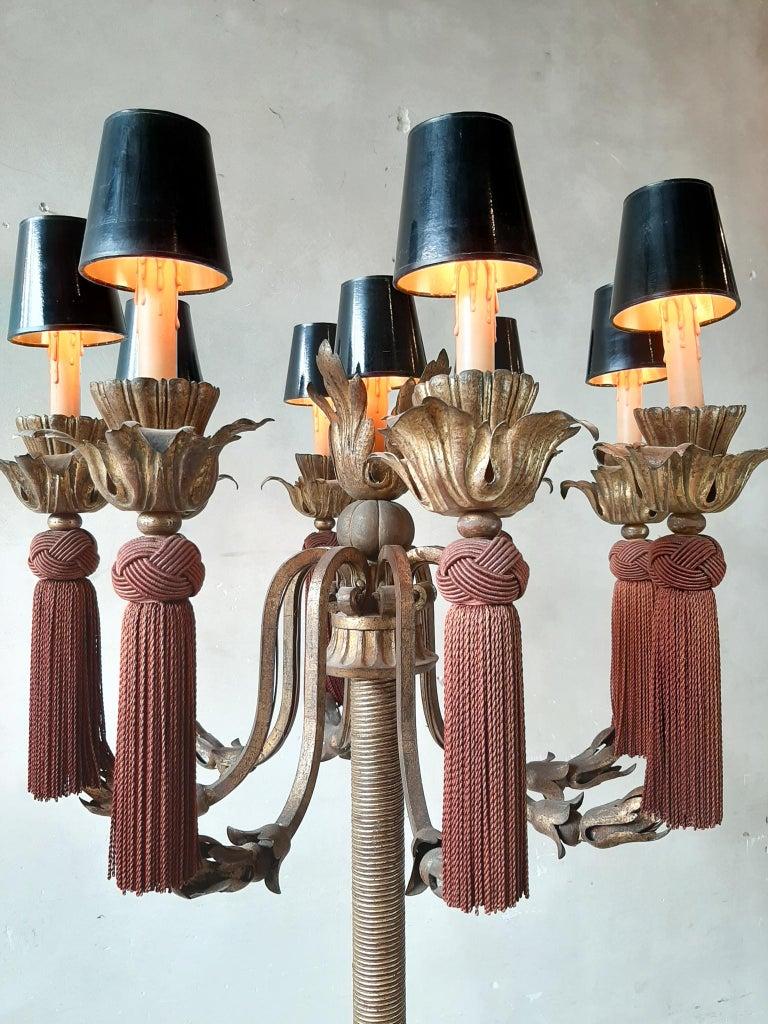 Large Vintage French Antique Design Chandelier Floor Lamp Gold, Red and Black For Sale 6