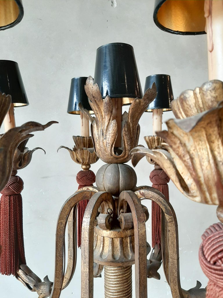 20th Century Large Vintage French Antique Design Chandelier Floor Lamp Gold, Red and Black For Sale