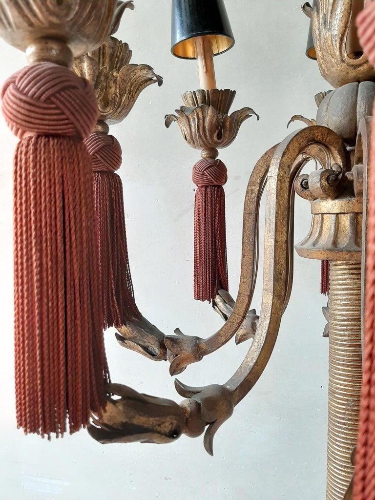 Metal Large Vintage French Antique Design Chandelier Floor Lamp Gold, Red and Black For Sale