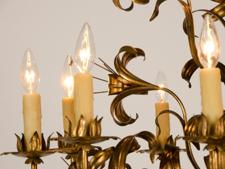 Large Vintage French Gilded Iron Tôle Flower Chandelier, circa 1940 For Sale 4