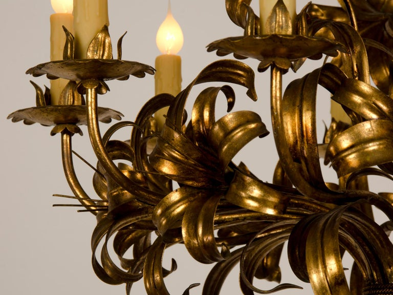 Large Vintage French Gilded Iron Tôle Flower Chandelier, circa 1940 For Sale 6
