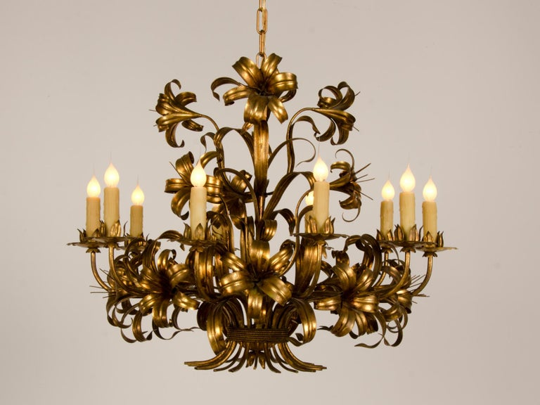 Gilt Large Vintage French Gilded Iron Tôle Flower Chandelier, circa 1940 For Sale