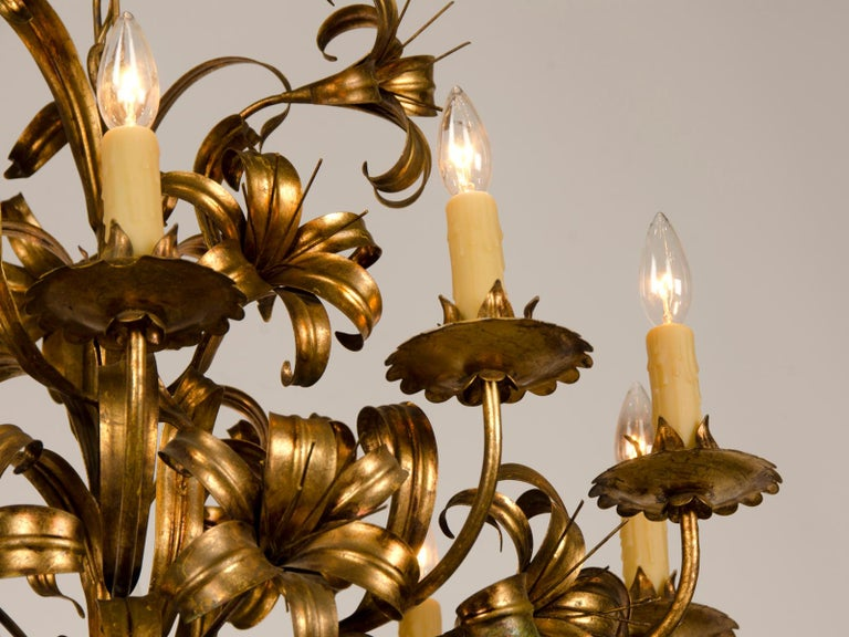 Large Vintage French Gilded Iron Tôle Flower Chandelier, circa 1940 In Good Condition For Sale In Houston, TX