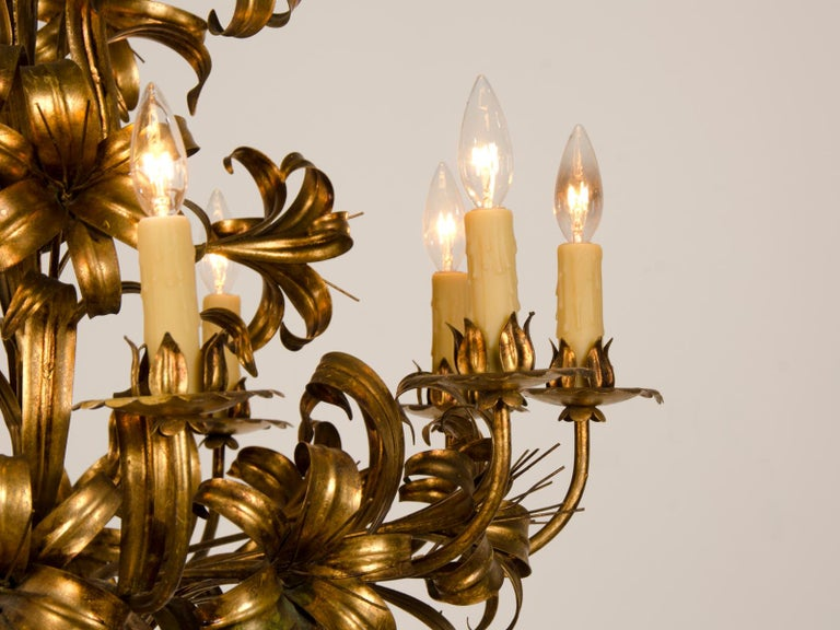 Large Vintage French Gilded Iron Tôle Flower Chandelier, circa 1940 For Sale 2