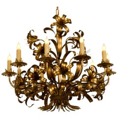 Large Vintage French Gilded Iron Tôle Flower Chandelier, circa 1940