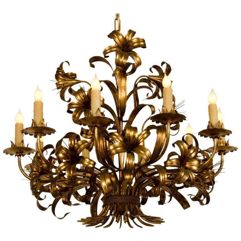 Large Vintage French Gilded Iron Tôle Flower Chandelier, circa 1940 For Sale
