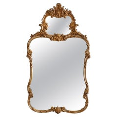 Large Vintage French Louis XIV Style Giltwood Trumeau Wall Mirror, 20th Century