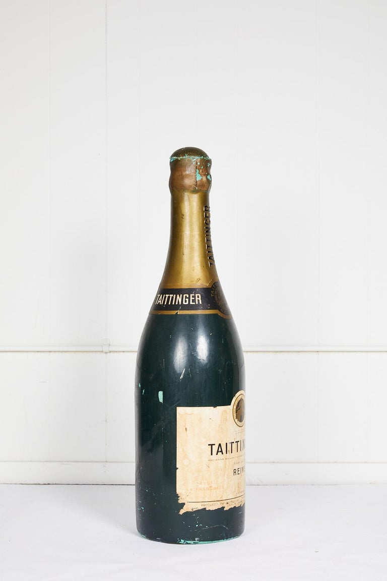 20th Century Large Vintage French Taittinger Bottle Prop For Sale