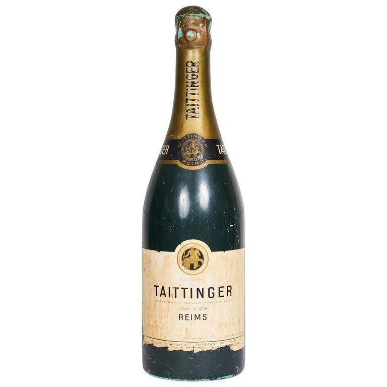 Large Vintage French Taittinger Bottle Prop For Sale