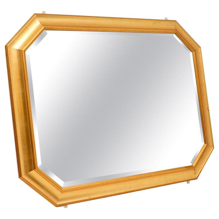 Large Vintage Gilt Wood Mirror For Sale
