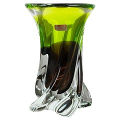 Large Vintage Green Brown Hand Blown Crystal Glass Vase by Joska, Germany, 1970s