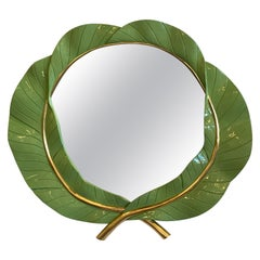 Large Vintage Green Lacquered and Gold Leaf Banana Leaves Tropical Wall Mirror