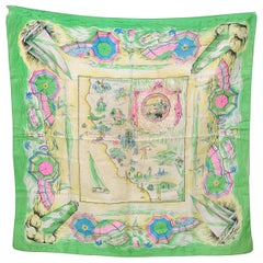 Large Vintage Green Pink Yellow Blue Silk Scarf California America Themes