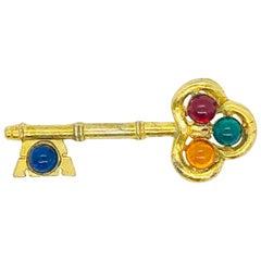 Large Vintage Gripoix Gold Blue, Red, Green Orange Novelty Key Brooch Pin