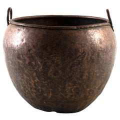 Large Vintage Hammered Copper South Asian Textile Pot