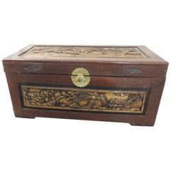 Large Vintage Hand-Carved Asian Large Cinnabar Lacquered Chest