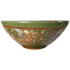Large Vintage Hand Crafted Mexican Art Pottery Bowl