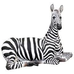 Large Vintage Hand-Crafted & Signed Mixed Media Zebra Sculpture