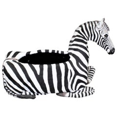 Large Vintage Hand-Crafted & Signed Mixed Media Zebra Sculpture or Planter Box