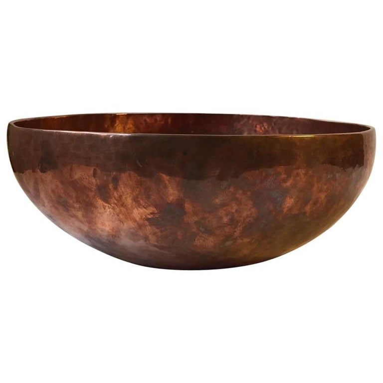 Large Vintage Hand Hammered Copper Chakra Singing Bowl Chö Pa Tibet 1970s