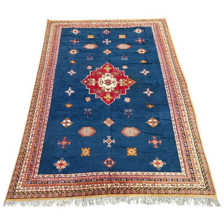 Large Vintage Hand Knotted Moroccan Rug For Sale At 1stdibs